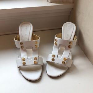 Celine White Leather Sandal with Gold Accents